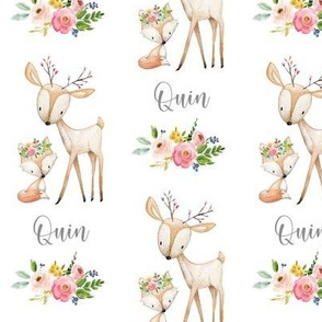 Personalized Name Fabric - Quin (woodland deer + fox, flowers)