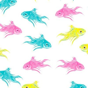 Colorful fish watercolor hand drawn pattern design