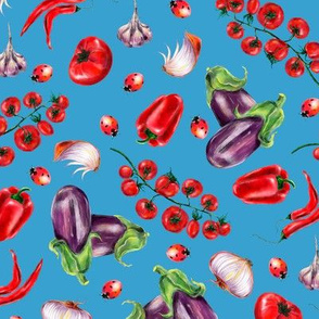 Watercolor hand drawn  vegetables pattern design