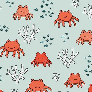 Sweet little under water crab friends deep sea coral reef summer kids prints mint red boys