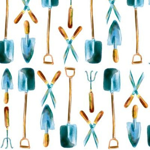 Watercolor hand drawn  garden tools pattern design