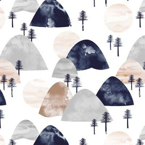 The hills little enchanted forest mountains trees and soft beige gray navy boys