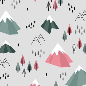 Geometric climbing hills little enchanted forest mountains trees snow tops nordic evergreen green pink