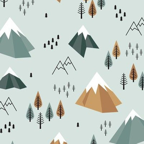 Geometric climbing hills little enchanted forest mountains trees snow tops nordic evergreen green cinnamon camel