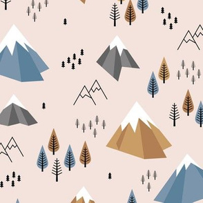 Geometric climbing hills little enchanted forest mountains trees snow tops nordic evergreen blue brown camel