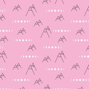 Full moon new moon phase and climbing mountains geometric abstract outdoor adventure pink