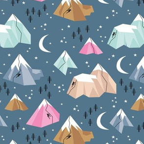 Geometric blue mountains climbing and bouldering new moon night winter cool blue pink
