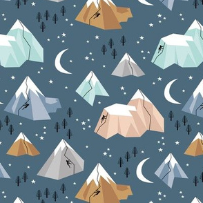 Geometric blue mountains climbing and bouldering new moon night winter cool blue gray