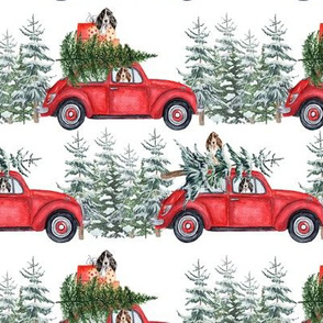 "6"" Holiday Christmas Tree Car and cocker spaniels in Woodland, christmas fabric, cocker dog fabric 3"
