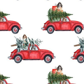 "6"" Holiday Christmas Tree Car and cocker spaniels in Woodland, christmas fabric, cocker dog fabric 1"