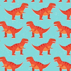 Red Retro Dinosaurs