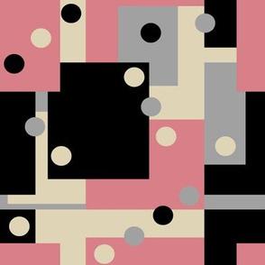 Colorblock Domino Rebellion in Pink Gray Cream and Black