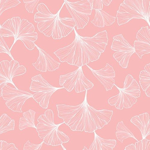 Ginkgo Leaves Small Scale - Pink and white