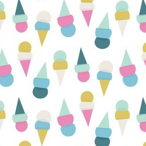 abstract ice cream cones - white