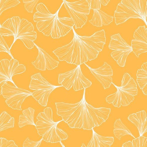 Ginkgo Leaves Small Scale - Yellow and White