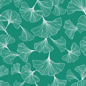 Ginkgo Leaves Small Scale - Teal and White