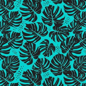 Monstera Small Scale - Turquoise and Black