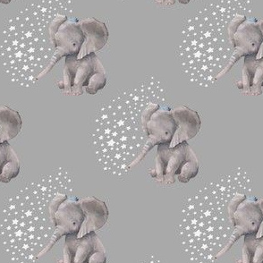 "4"" Baby Elephant with Crown and White Stars"