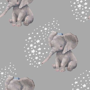 "8"" Baby Elephant with Crown and White Stars"
