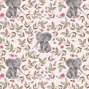 "4"" Baby Elephant with Flowers Pink Back"