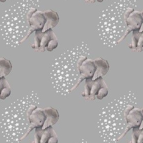 "4"" Baby Elephant with White Stars"