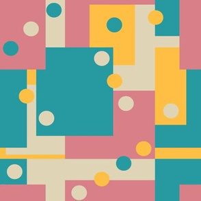 Colorblock Domino Rebellion in Bold Baby Blue Yellow Pink and Cream