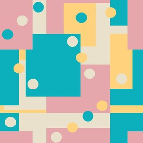 Colorblock Domino Rebellion in Soft Baby Blue Yellow Pink and Cream