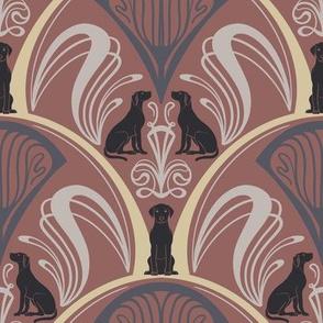 Art Nouveau Black Labrador Retrievers  - Pink