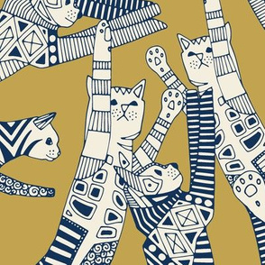 cat party gold navy large
