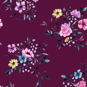 Emila Watercolor Floral - Magenta