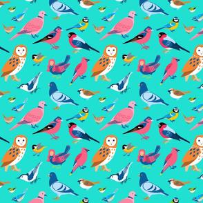 Birds and Siren on Turquoise - medium scale