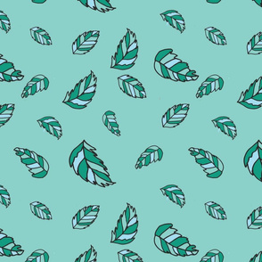 Whimsical leaf green background