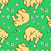Green background bear