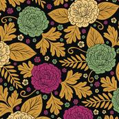 Boho Floral Pattern In Magenta, Mint Green, Beige, Golden-Brown & Black