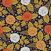 Retro 1970s Orange, White & Gold Dark Floral Pattern