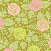 Fresh Spring Flowers - Pink, Peach & Green Floral/Hippy Pattern