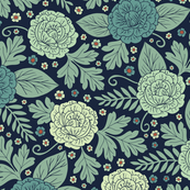 Blue-Green Floral Pattern In Teal, Mint Green, Orange & Navy