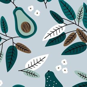 Sweet summer avocado leaves and botanical vegan branch and flowers  garden green blue boys JUMBO
