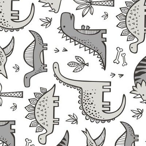 Dinosaurs in Grey Rotated