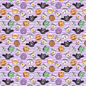 (micro scale) Halloween coffee and donuts - purple stripes  - bats, pumpkins, spider web, vampire - LAD19 BS