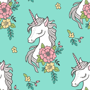 Dreamy Unicorn & Vintage Boho Flowers on Mint Large Scale 15 Inch