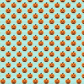 (micro scale) Jack-o'-lantern - halloween pumpkins - teal stripes - LAD19BS