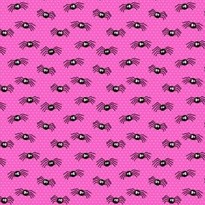 (micro scale) Cute Spiders - Halloween - pink polka dots - LAD19BS