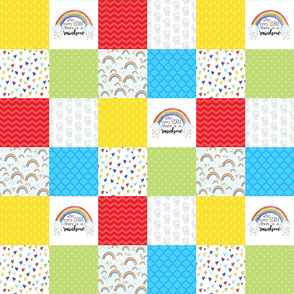 3 inch After every Storm, There is a Rainbow/Rainbow Baby - Wholecloth Cheater Quilt