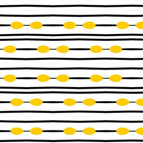 BLACK AND WHITE STRIPE WITH YELLOW DOTS