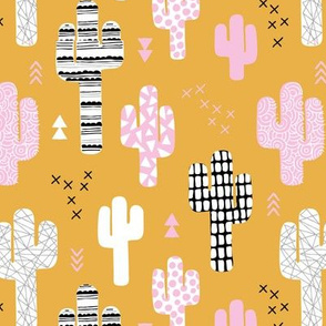 Cool western geometric cactus garden with triangles and arrows ochre yellow pink fall