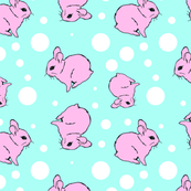 Pink bunny blue background