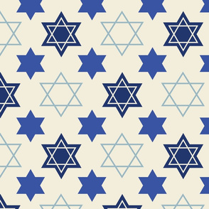 Star of David Blue on Cream background