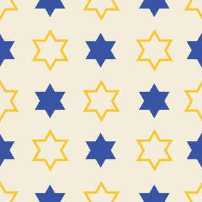 Star of David Yellow and  Blue on Cream background