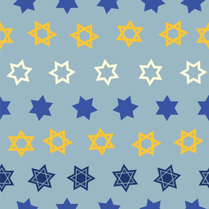 Star of David in lines on light blue background